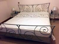 Super king size metal bed 180x200cm with Glass matching side tables . Sale !