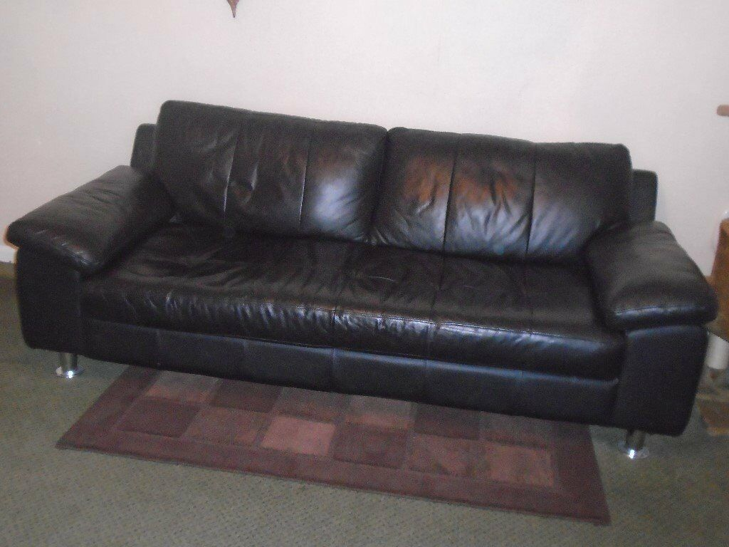 3 Seater Black Leather Sofa - Very good condition (2 seater matching sofa also available)