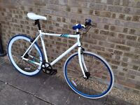 Beautiful, white, single speed bike (fixie, fixed gear) + bike lock