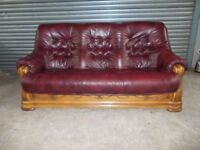 Burgundy Leather 3+2-seater Oak Frame Suite (Sofa)