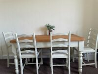 Farmhouse dining table and chairs and bench