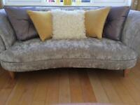 4 seater and 2 seater silver sofas