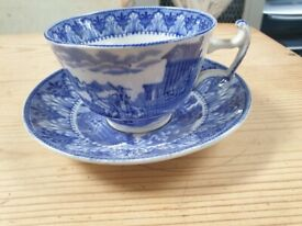 Cauldon vintage blue white pattern cup and saucer