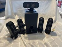 LOGITEC X 6 SPEAKERS, GREAT FOR SURROUND SOUND ON COMPUTERS/TV