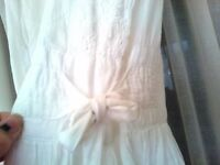 White vintage dress, fine cambric cotton size 8 10