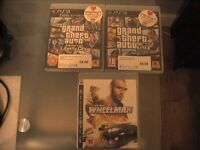 3 GAMES FORE ps3 GTA 5 ... GTA 4 ....DIESER WHEELMAN EXCELLENT CONDITION