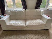 3 Seater sofa white leather