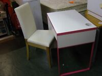 Kids Desk and Cream Canvas Covered Chair