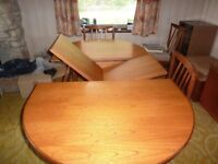 Portwood extending teak dining table & for chairs