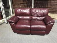 2 seater real leather! Reclining sofa