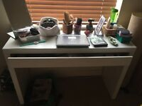 IKEA MALM White Dressing table, with Glass Top and Drawer