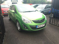 Vauxhall Corsa 1.2 Petrol Manual Green 3 Door Hatchback 2012 Stunning Car Low Milege