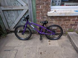 """Purple Frog 52 bike for 5-7 year olds. 20"""" wheels; 8 speed Shimano gears; spare road tyres"""