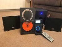 Micro stereo CD system with speakers and ipod dock