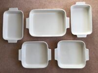 Le Creuset Stoneware Roasting Serving Dishes Set of 5