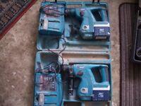 2 makita cordless drills and batteries