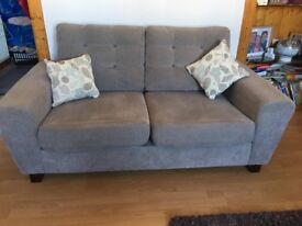 Fabric 2 seater sofa, armchair and storage footstool for sale
