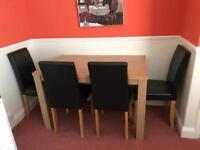 Pemberton Oak Vaneer Dining Table & 4 Chocolate Chairs