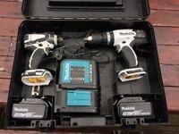 Makita 18v LXT Twin set cordless and impact drills & 3ah batteries