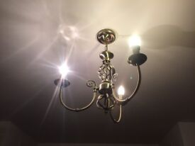 3 arm brass affect ceiling lights x2