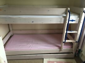 Thuka Bunk Bed in Pine with Whitewash finish and Trundle Drawer