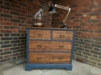 Rustic Industrial chest of drawers. Vintage oak 2+2 drawers. Dark Blue shabby chic. LOCAL DELIVERY.