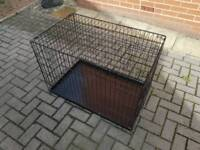 LARGE FOLDABLE DOG CAGE CRATE WITH 2 DOORS IN VERY GOOD CONDITION