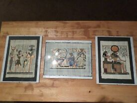 Egyptian Hieroglyphic pictures (Set of 3)