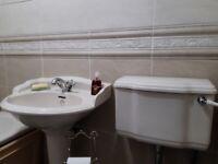 Charlotte Qualitas pedestal sink in soft cream