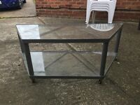 Grey Metal & Glass TV and Multimedia Stand with Wheels