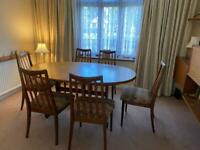 G Plan Oval Teak Dining Room Table with 6 Chairs. Original 1977.