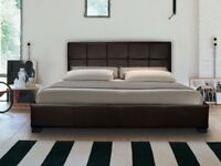 Brand New Double Chocolate Leather Ottoman Storage Bed