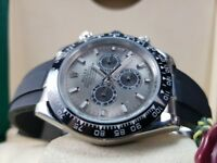 New boxed with papers Rubber bracelet silver dial with markers Rolex Daytona Oysterflex watch Auto