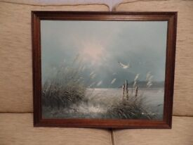 Attractive Original Framed oil painting of a sea view