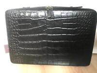 Black croc leather laptop case - New