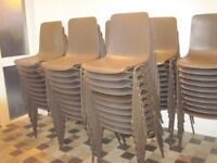 Stacking Chairs, strong metal legs, brown moulded plastic seat and back - 100 available