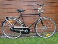 DBS Gents Dutch bike 28 inch wheels, 23 inch frame, 3 hub gears, rear rack, dynamo lights