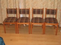 4 Wooden and tartan checked dining chairs - retro 60/70's style