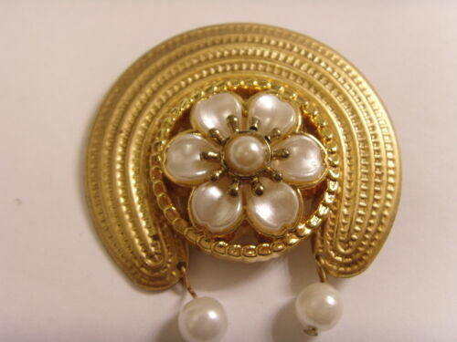 vintage artisan hand crafted fusion jewelry faux pearls golden moon brooch 46776