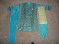 Boys sky blue Indian Suit (Sherwani suit) Age 8, in excellent condition, £10