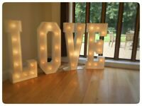 4ft Giant Light Up LOVE letters, Wedding, Party HIRE - £100 & Candy Cart available to Hire £150
