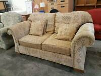 Patterned fabric 2 seater beige sofa