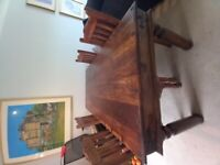 Dining table and 4 matching chairs (solid hardwood as new)
