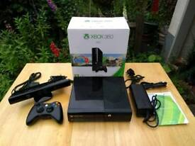 Xbox 360 E 250gb memory with kinect motion sensor, wireless controller, and 30 downloaded games