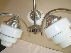 Art Deco Vintage Chrome Ceiling Light (c1930s) 3 arm with stepped globe design in white opal glass
