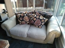 Two seater sofa beige and brown
