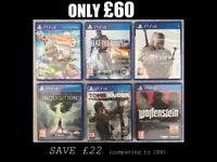 6xPS4 Games: Tomb Raider (Def. Ed.), Witcher3: Wild Hunt, DA: Inquisition, Battlefield 1, LBP3, W:NO