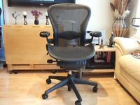 "HERMAN MILLER AERON ""B"" SIZE GRAFITE CHAIR IN PERFECT CONDITION"