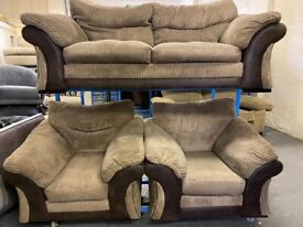 DEISGNER DFS CORD SUEDE FABRIC 3 PIECE SOFA SET REAL NICE DESIGN LARGE 2 SEAT & 2 ARM CHAIRS