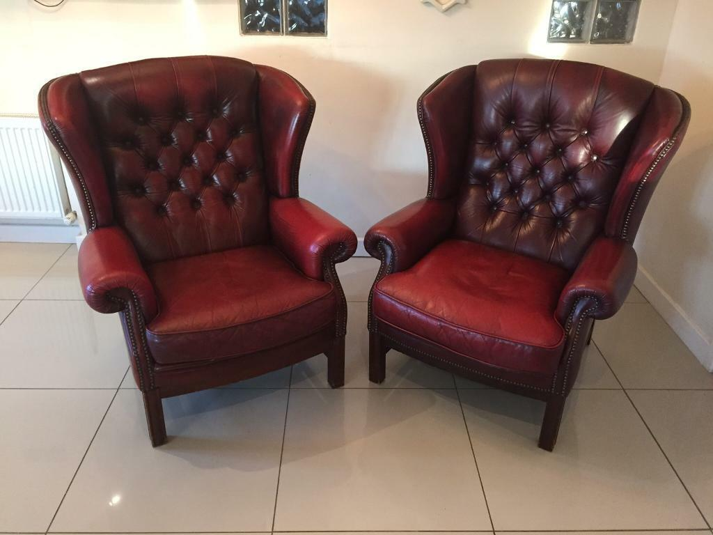 d934a0476ac4 STUNNING PAIR OF PENDRAGON CHESTERFIELD QUEEN ANNE CHAIRS - DARK OXBLOOD  LEATHER